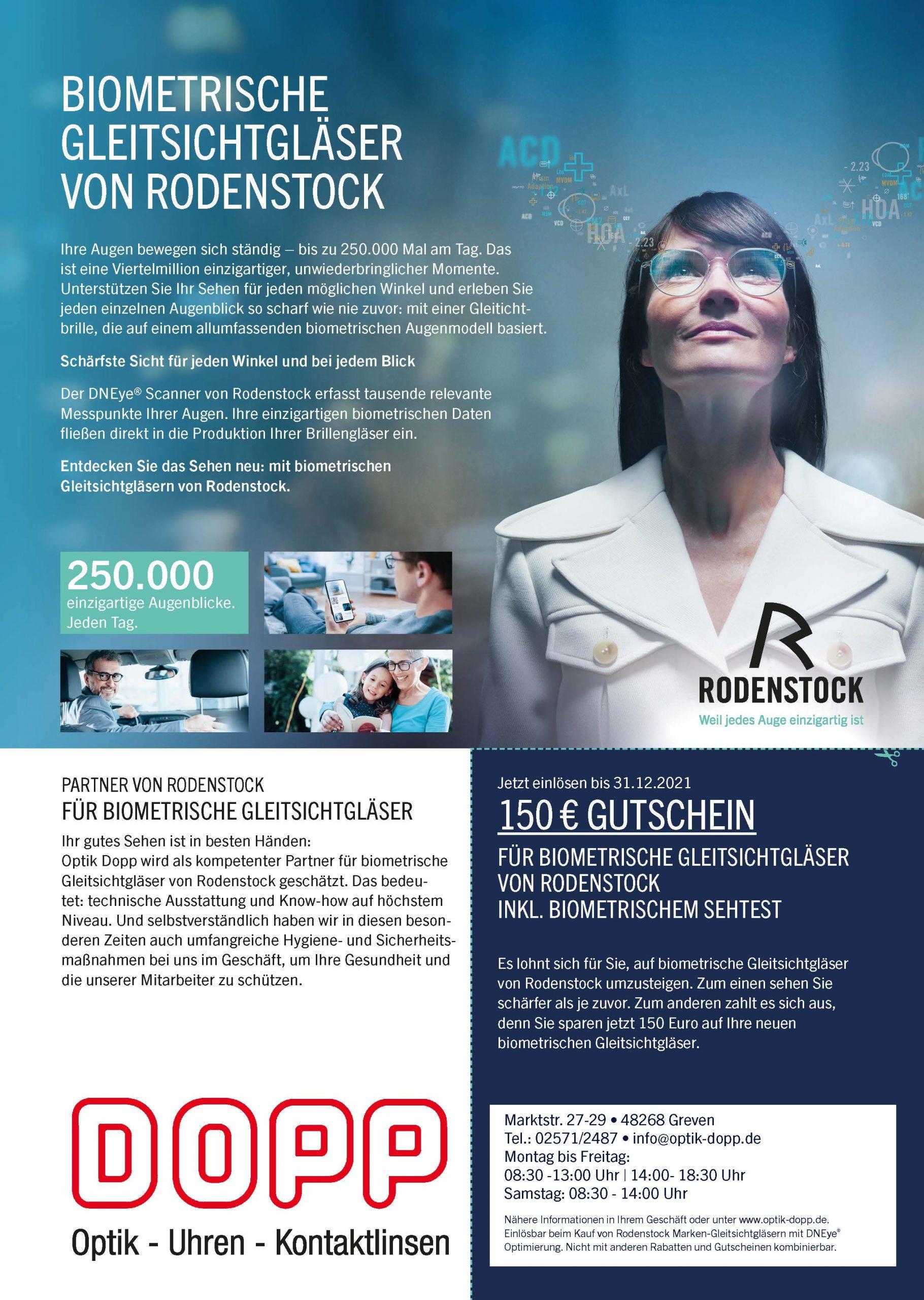 Gutschein Biometrische Gleitsichtgläser von Rodenstock